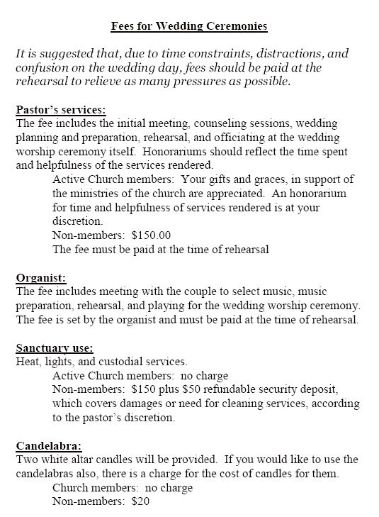 Wedding Policy Page 2